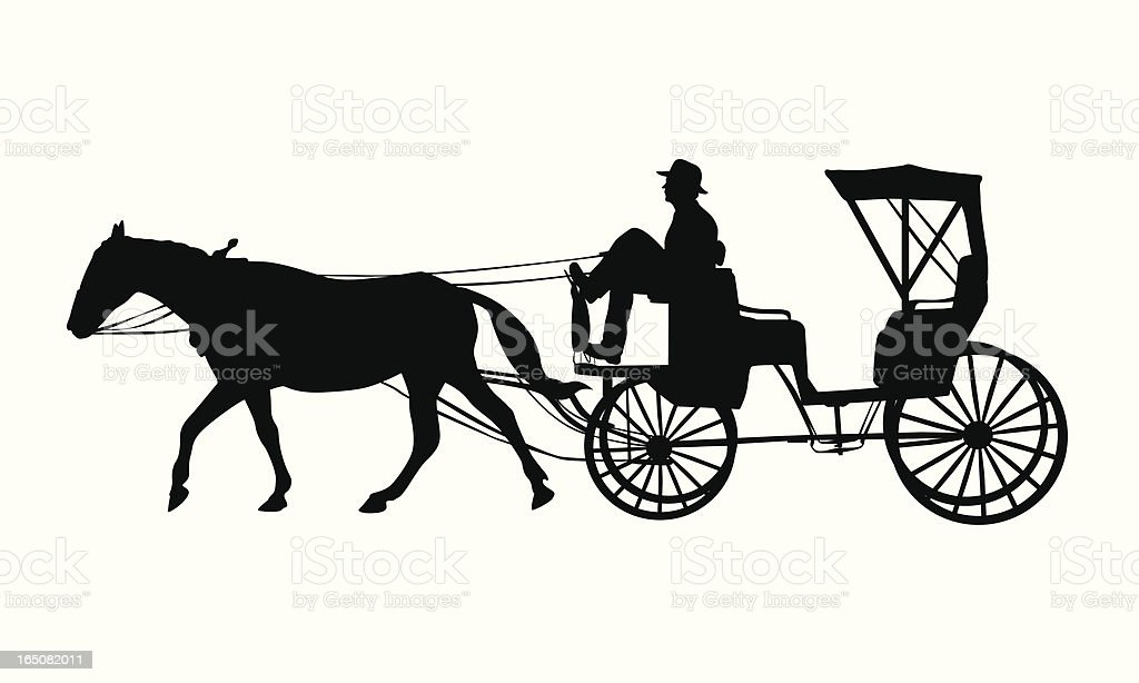 Horse Carriage Vector Silhouette vector art illustration