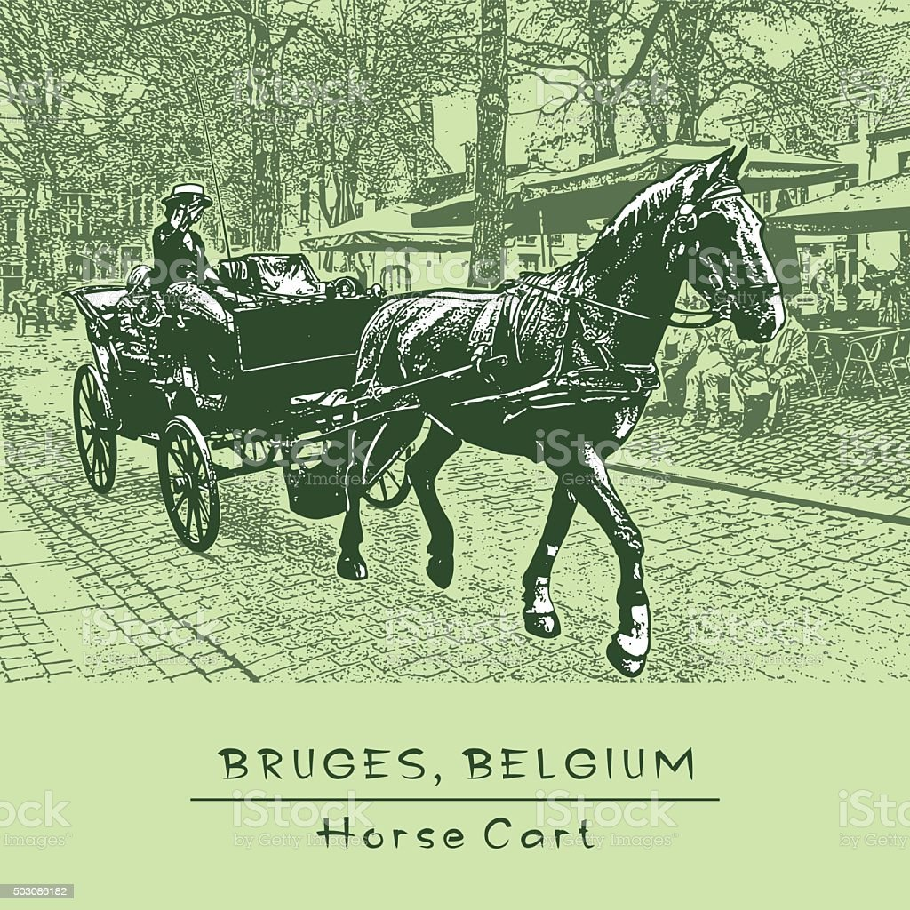 Horse Cart. Bruges, Belgium. vector art illustration