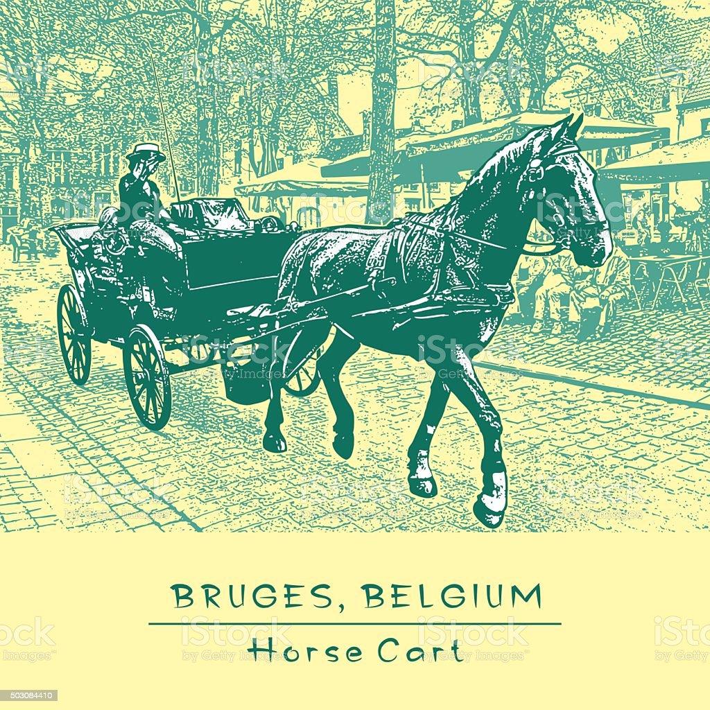Horse Cart in Bruges, Belgium. vector art illustration