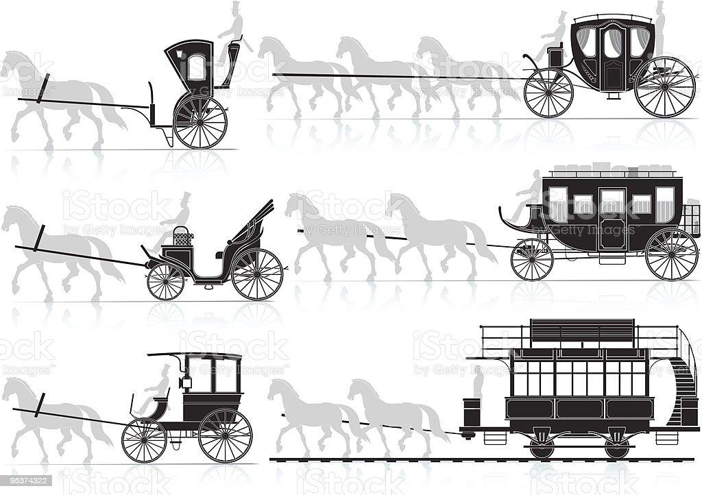 horse cart vector art illustration