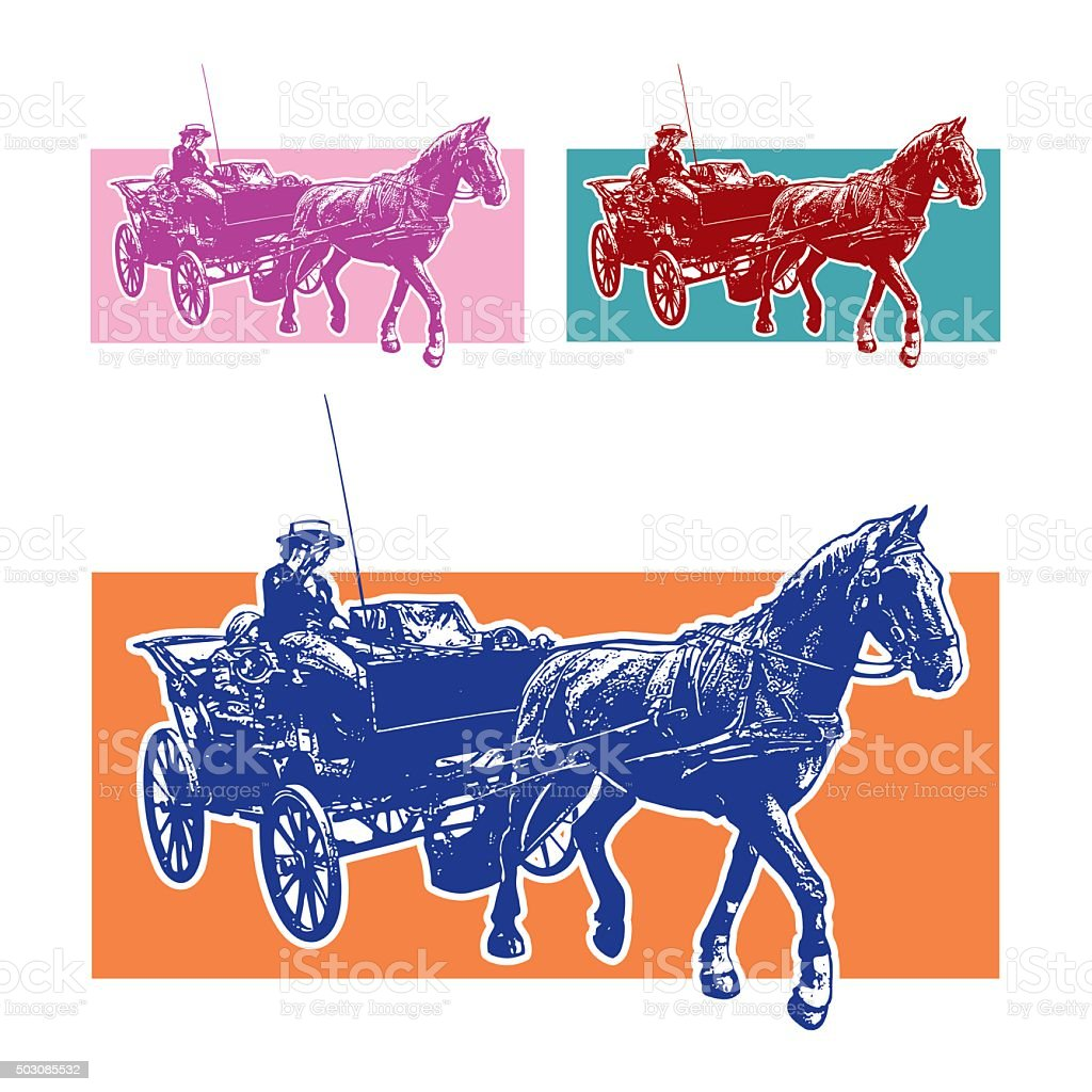 Horse Cart with Coachman. vector art illustration