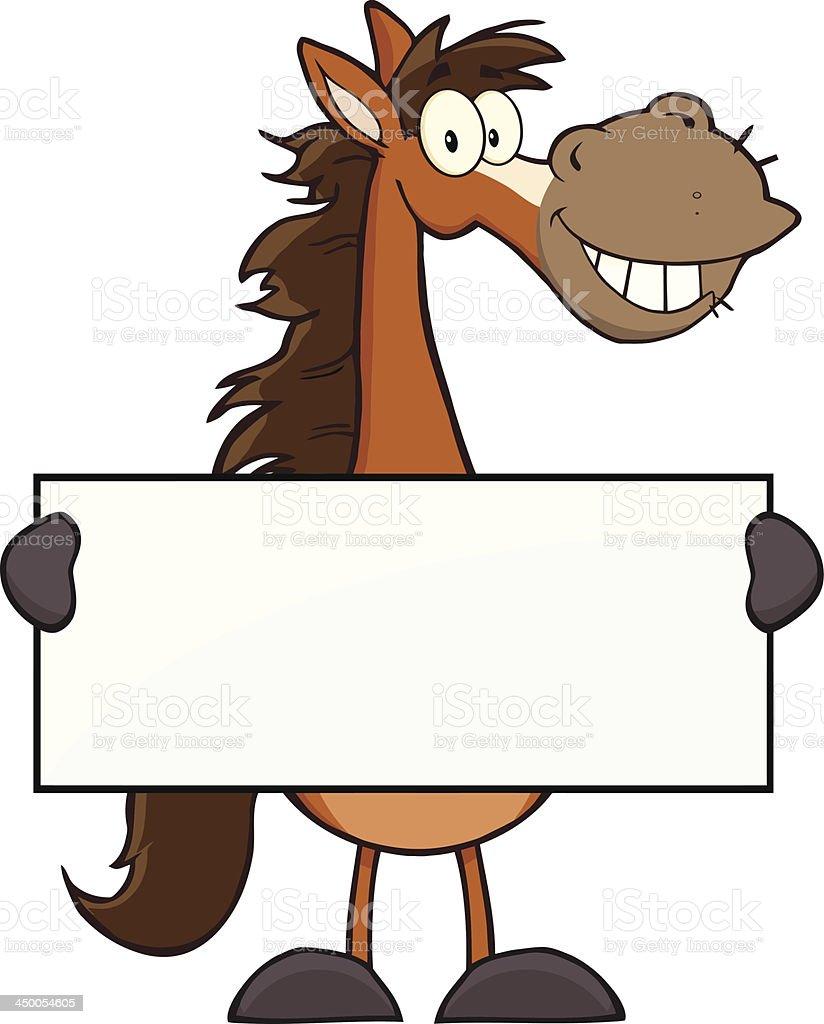 Horse Cartoon Mascot Character Holding A Banner vector art illustration