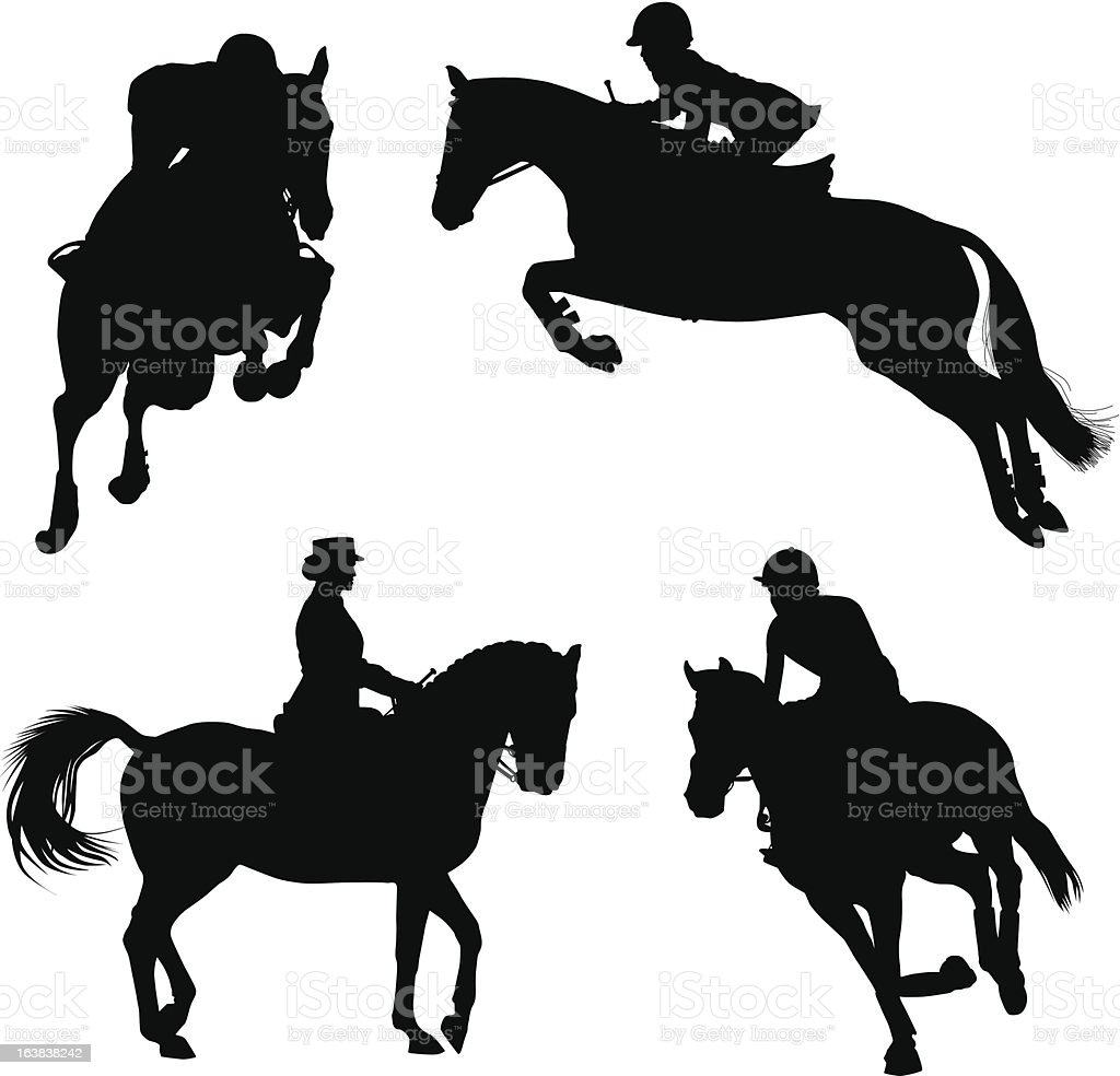 Horse competition vector art illustration