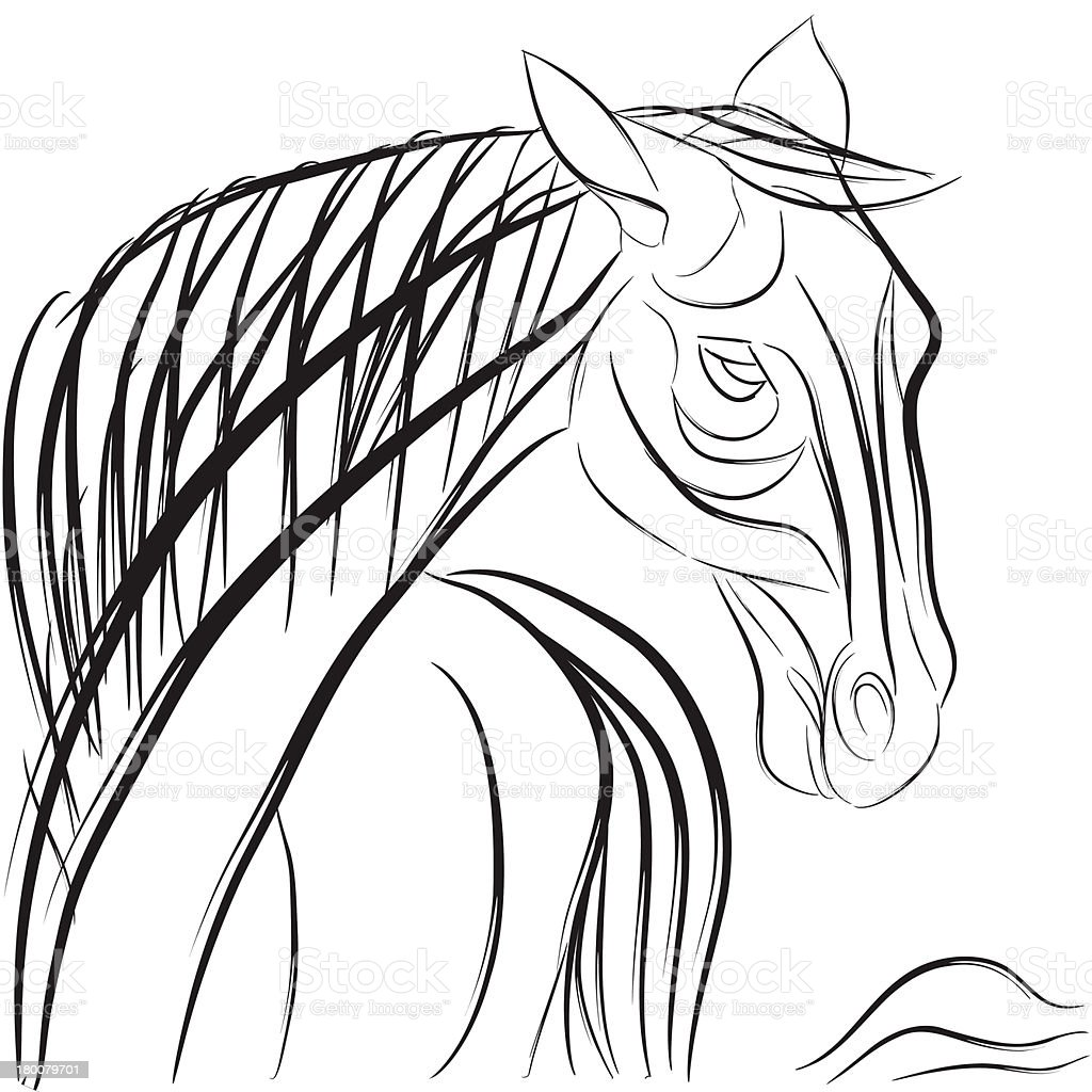 Horse doodle composition royalty-free stock vector art