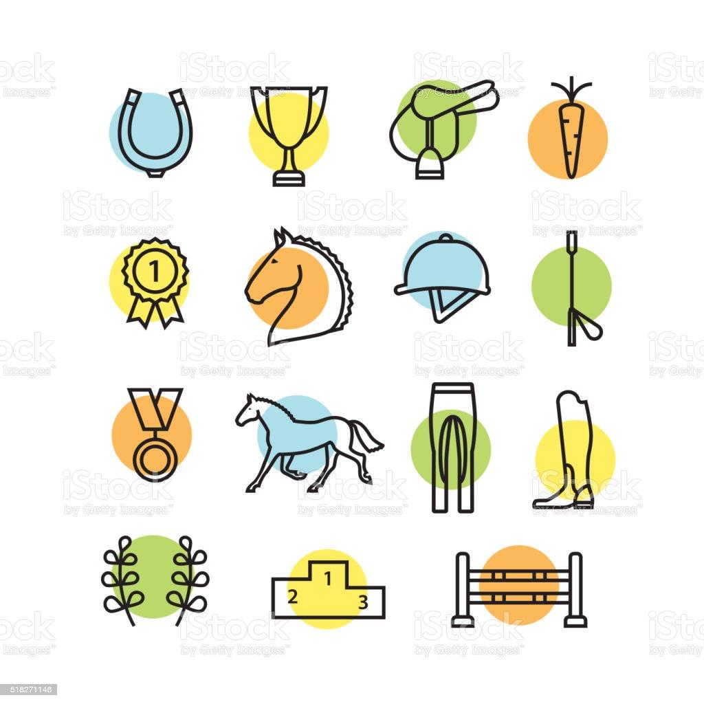 Horse equipment icon set color thin line vector art illustration