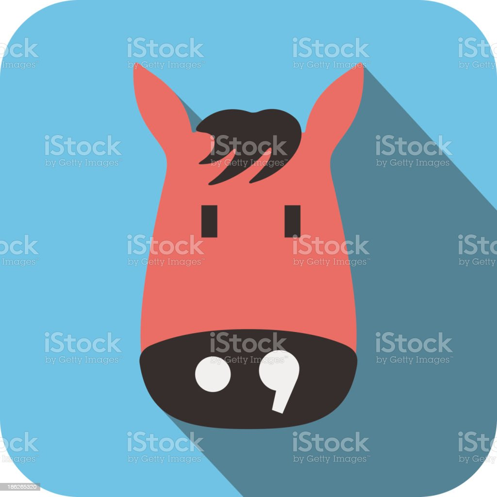 horse face flat icon design. Animal icons series. royalty-free stock vector art