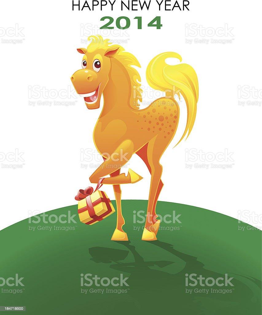 horse happy new year 2014 royalty free stock vector art