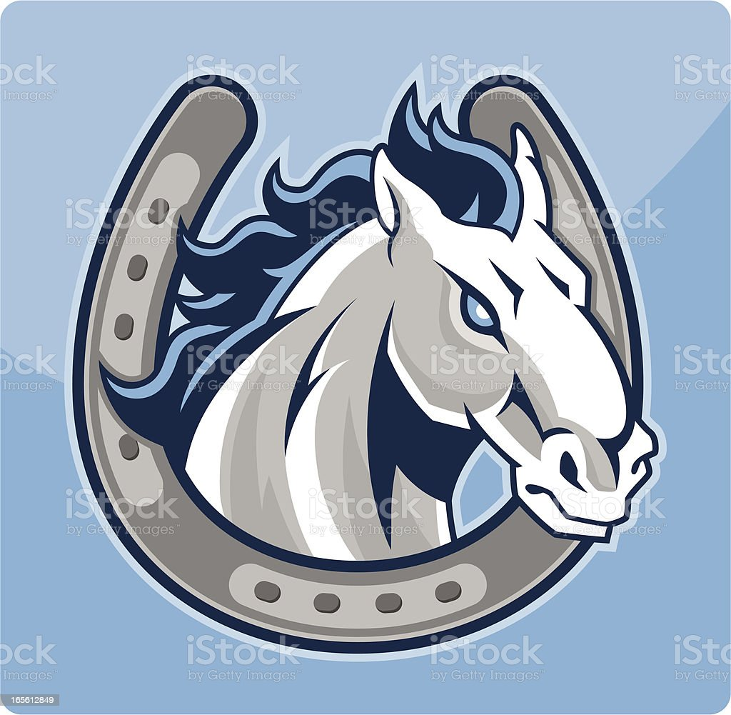 Horse Head in a Horseshoe royalty-free stock vector art