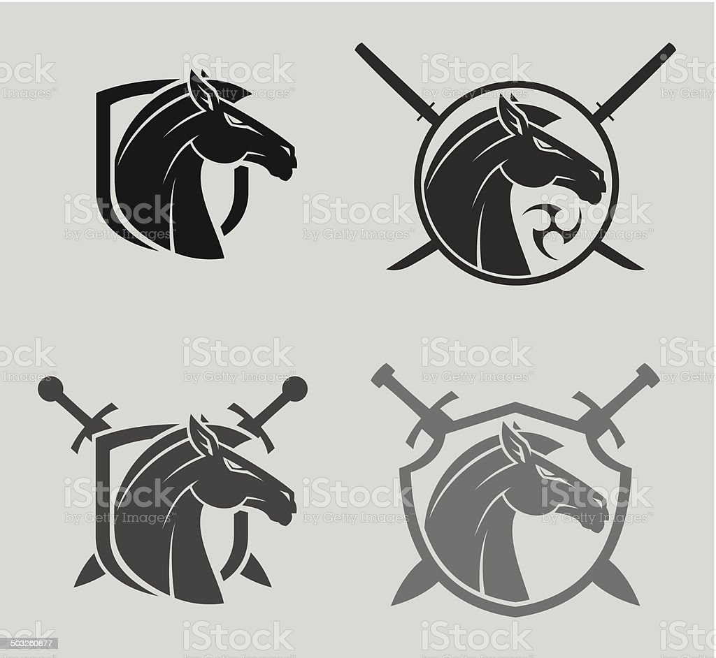 Horse head mascot vector art illustration