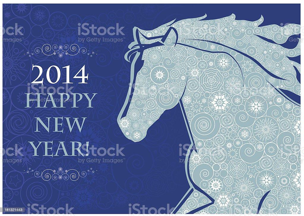 Horse head of Snowflakes royalty-free stock vector art