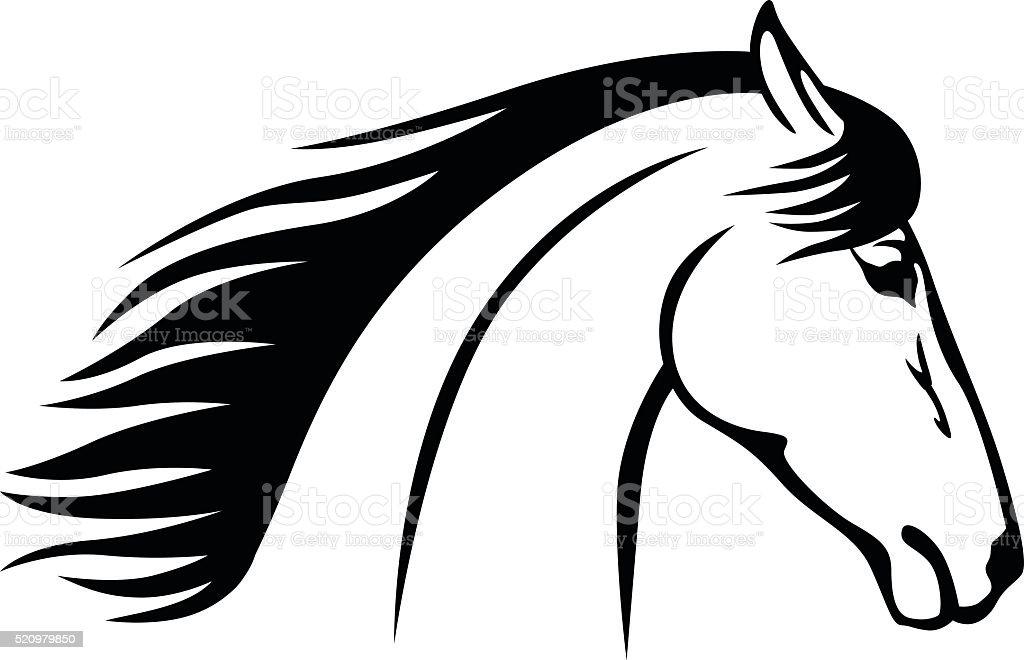 Horse head profile icon vector art illustration