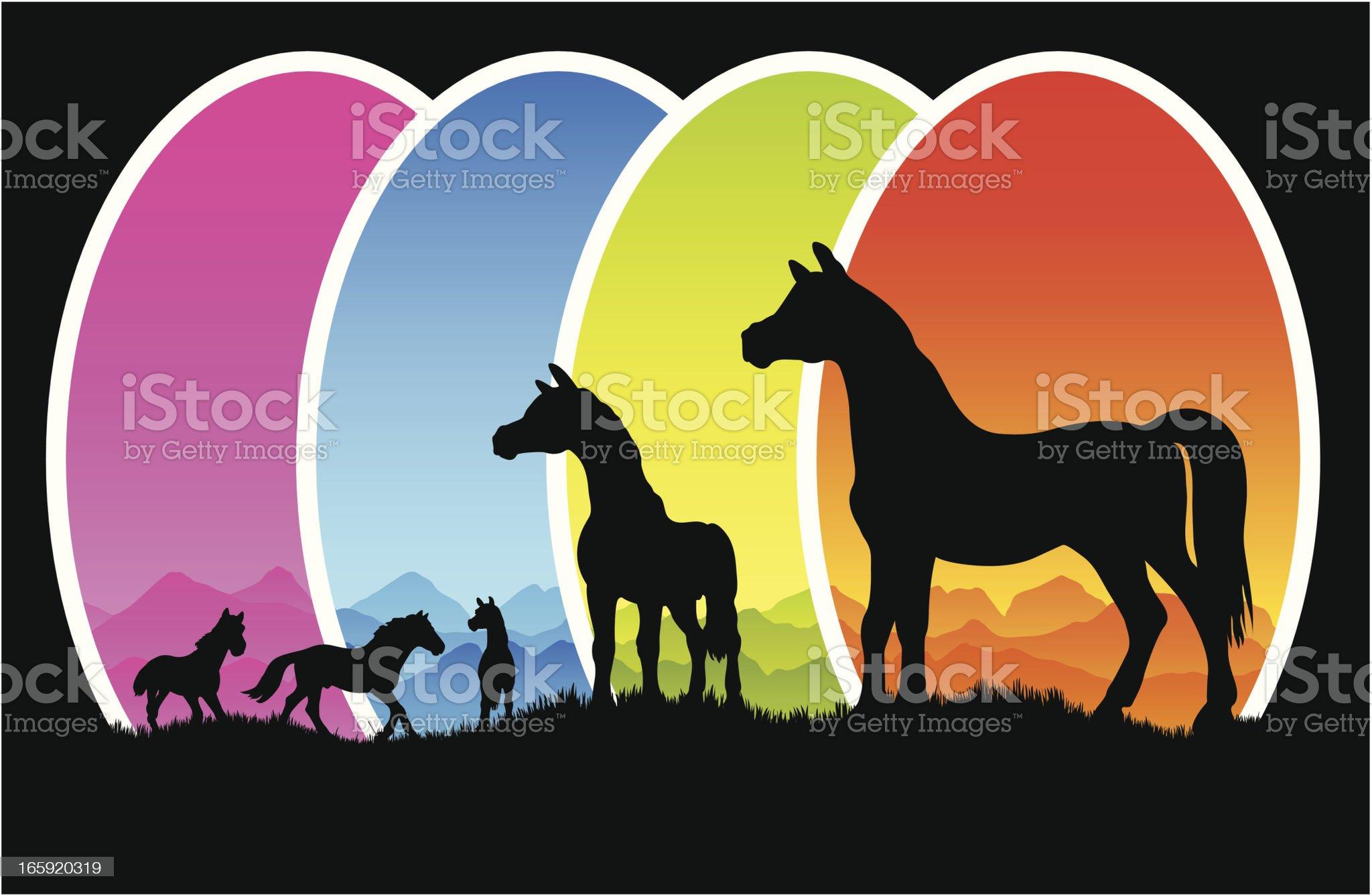 Horse herd in silhouette on open fields royalty-free stock vector art