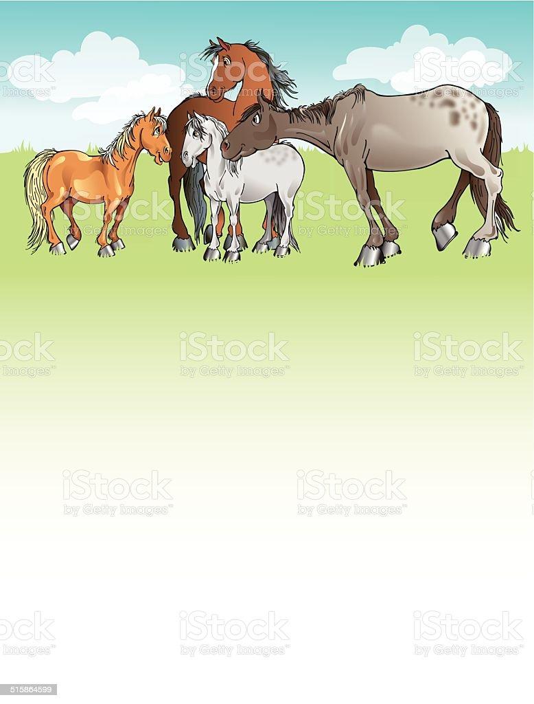 Horse Herd Letterhead vector art illustration