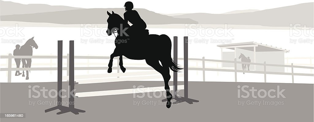Horse Jump Vector Silhouette vector art illustration