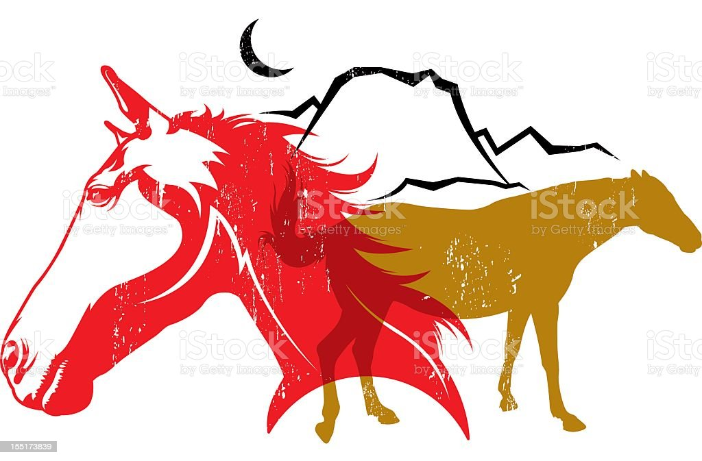 Horse Litho royalty-free stock vector art