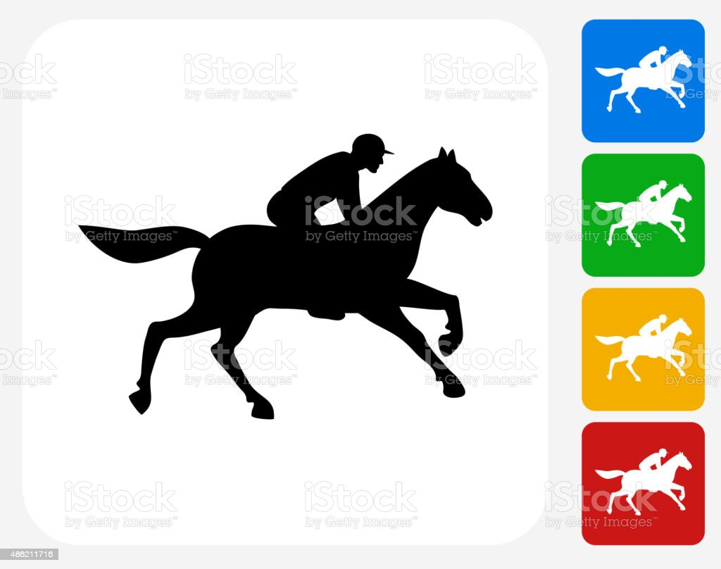 Horse Racer Icon Flat Graphic Design vector art illustration