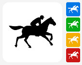 Horse Racer Icon Flat Graphic Design