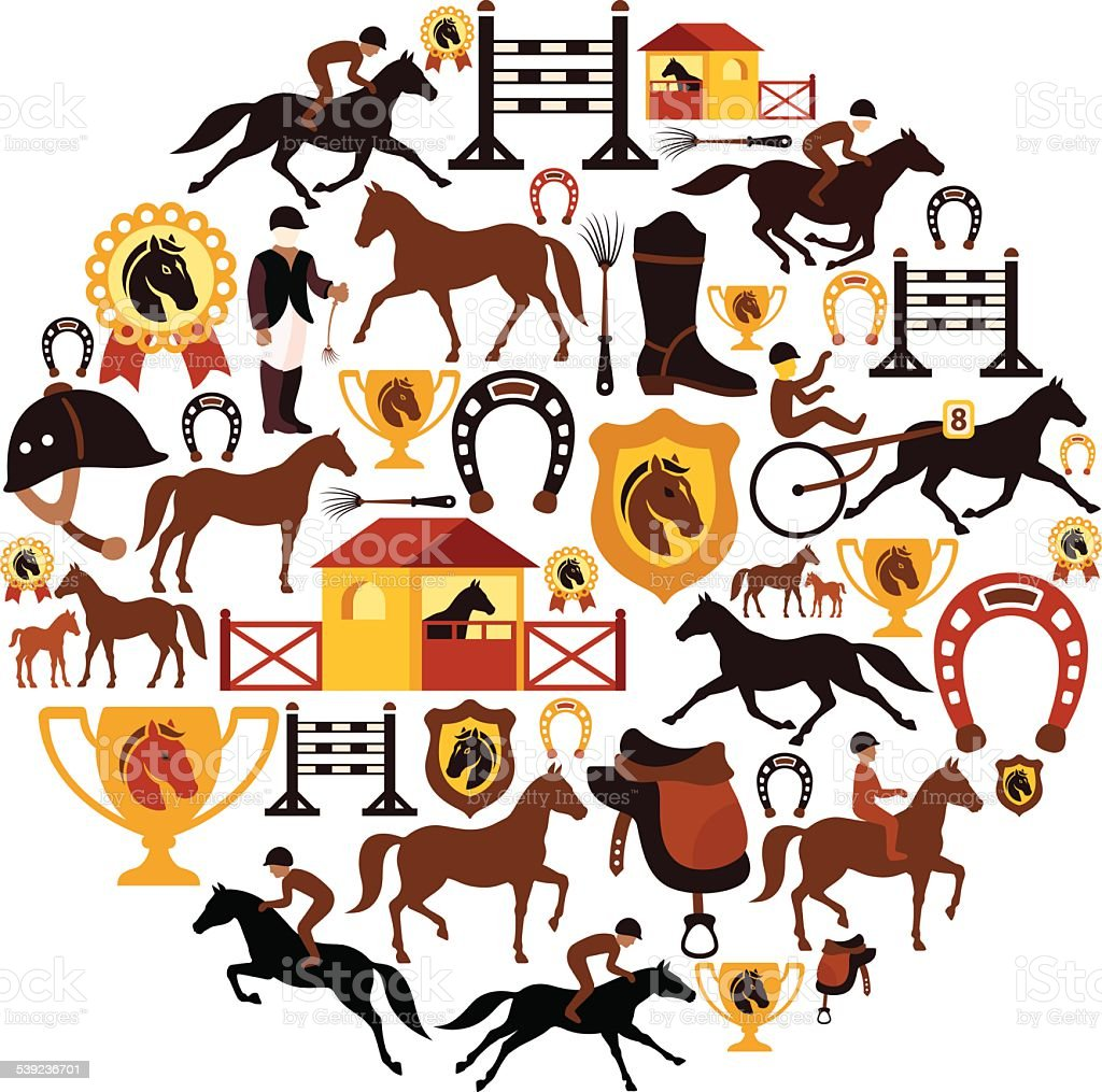 Horse Racing Collage vector art illustration