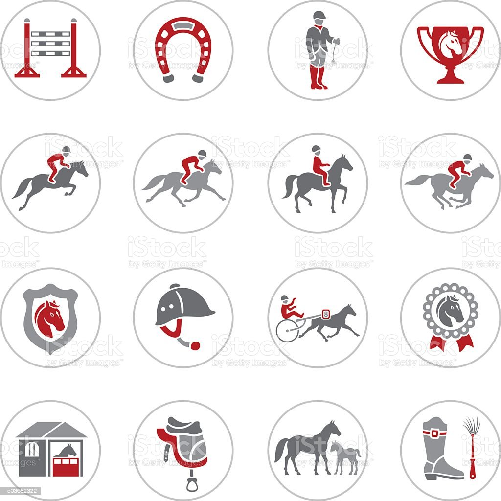 Horse Racing Icons vector art illustration
