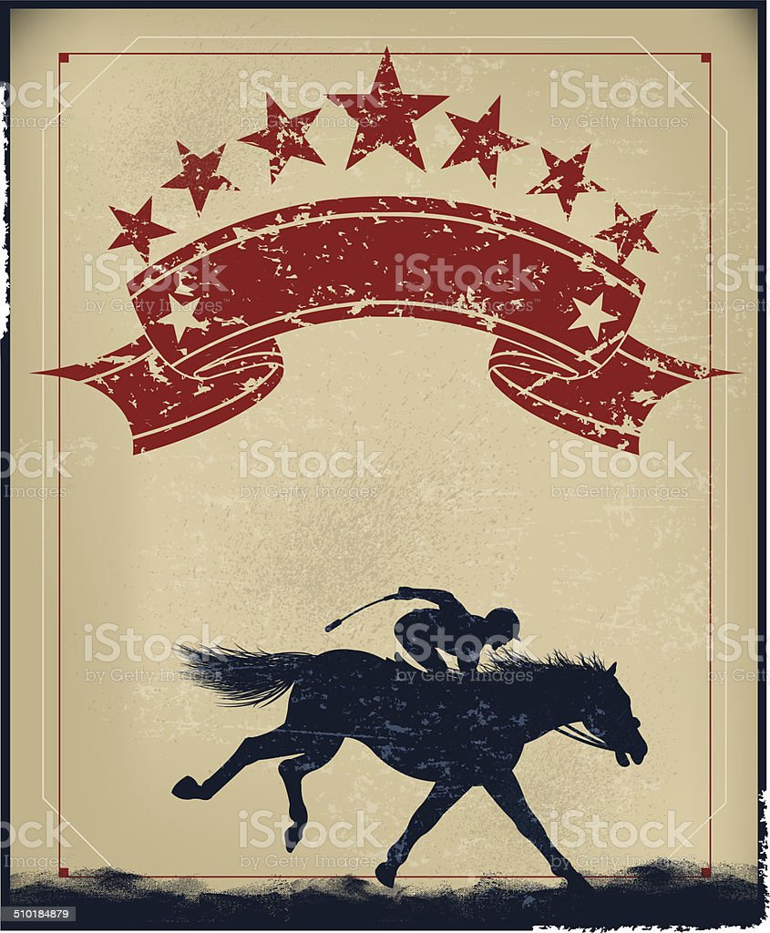 Horse Racing Retro Background vector art illustration