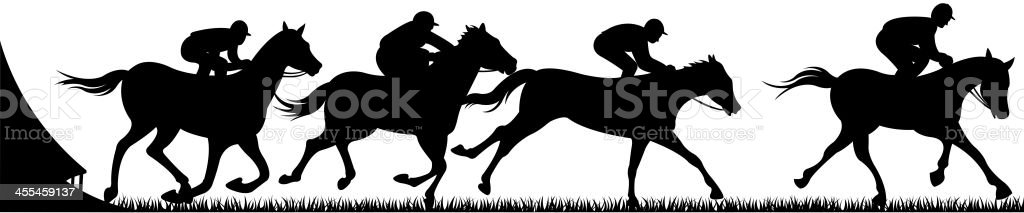 Horse racing silhouettes vector vector art illustration