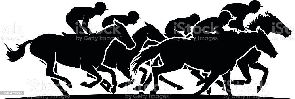 Horse racing vector art illustration