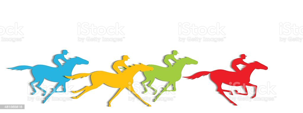 Horse racing with shadows. vector art illustration