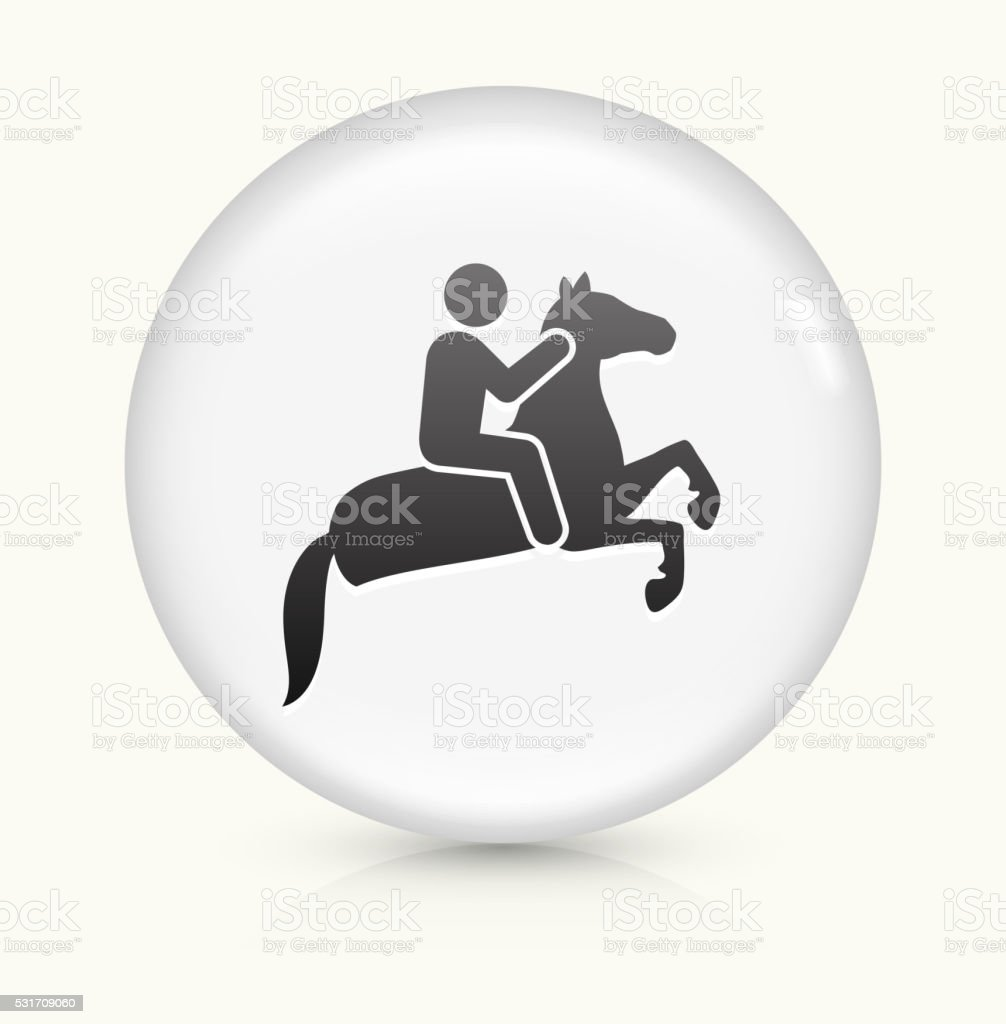 Horse Ridding icon on white round vector button vector art illustration