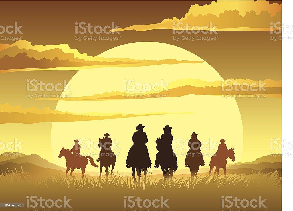 Horse riding cartoon sunset design royalty-free stock vector art