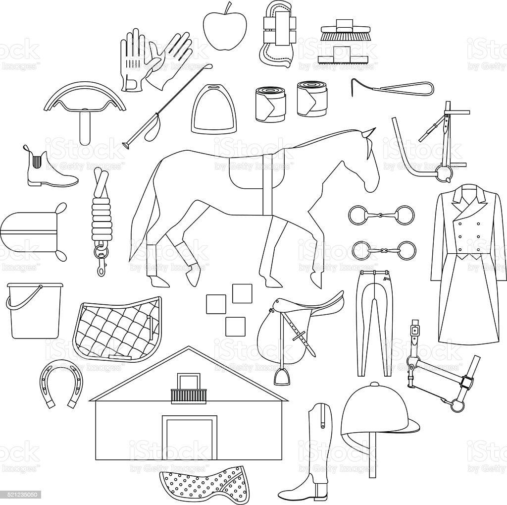 horse riding circle vector art illustration