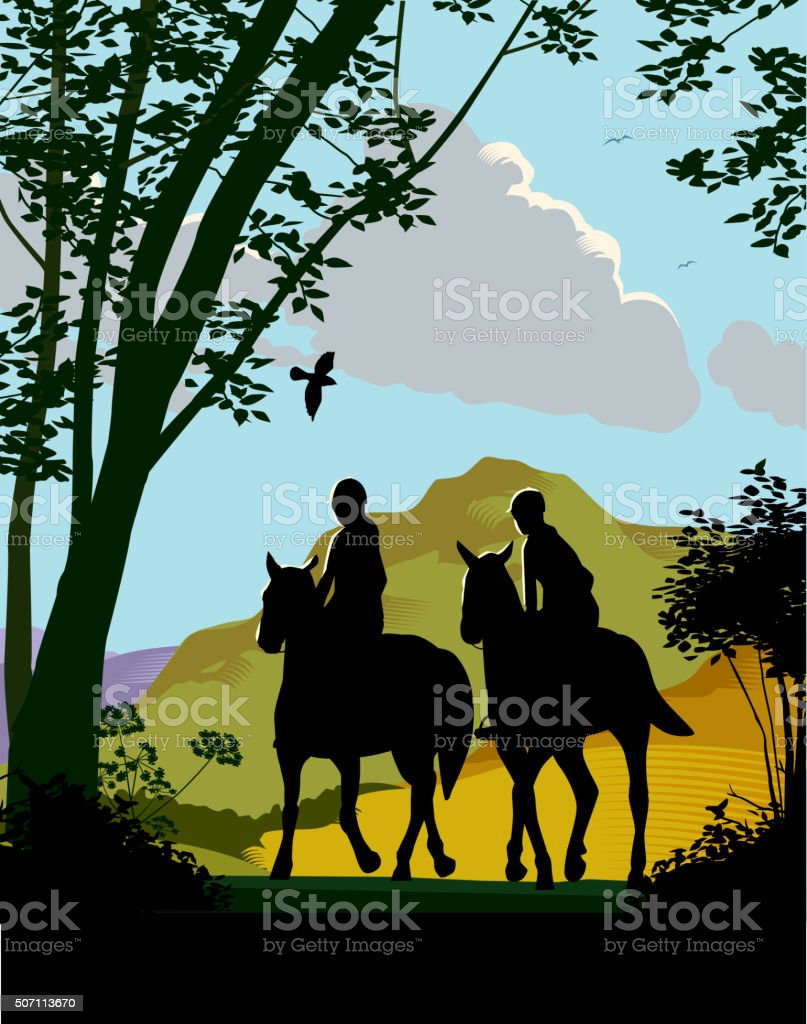 Horse riding in countryside vector art illustration