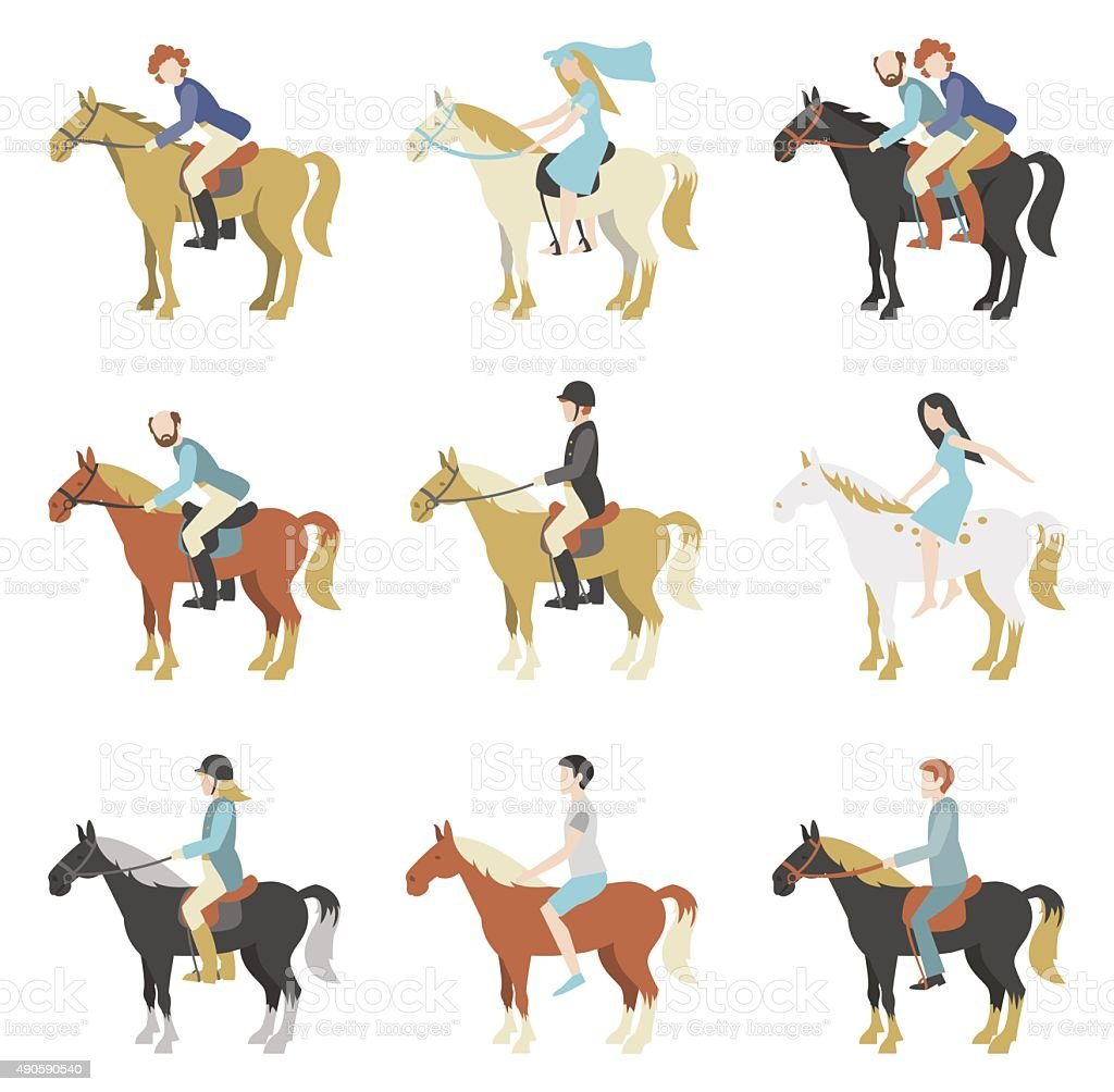 Horse riding lessons vector art illustration