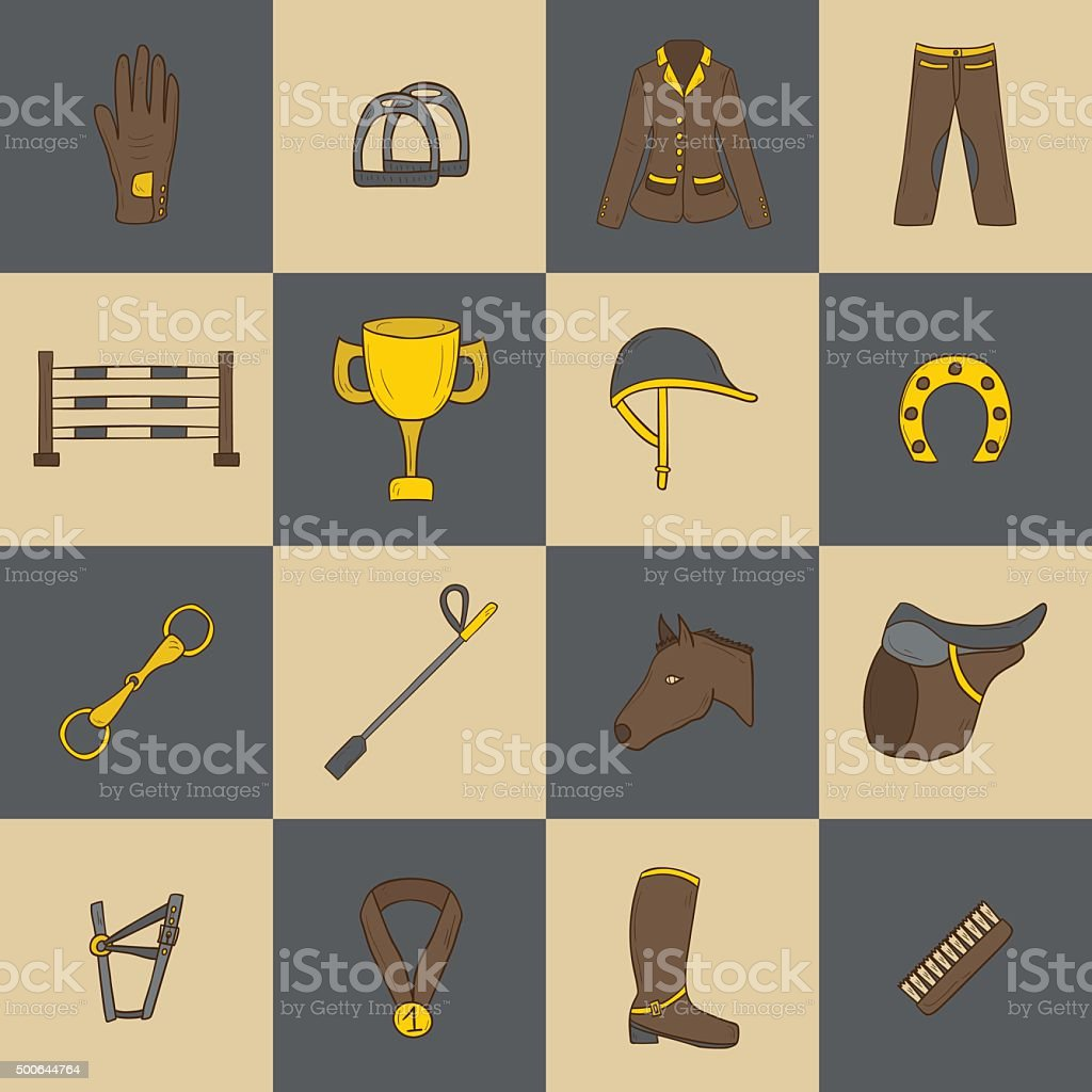 Horse riding objects vector art illustration
