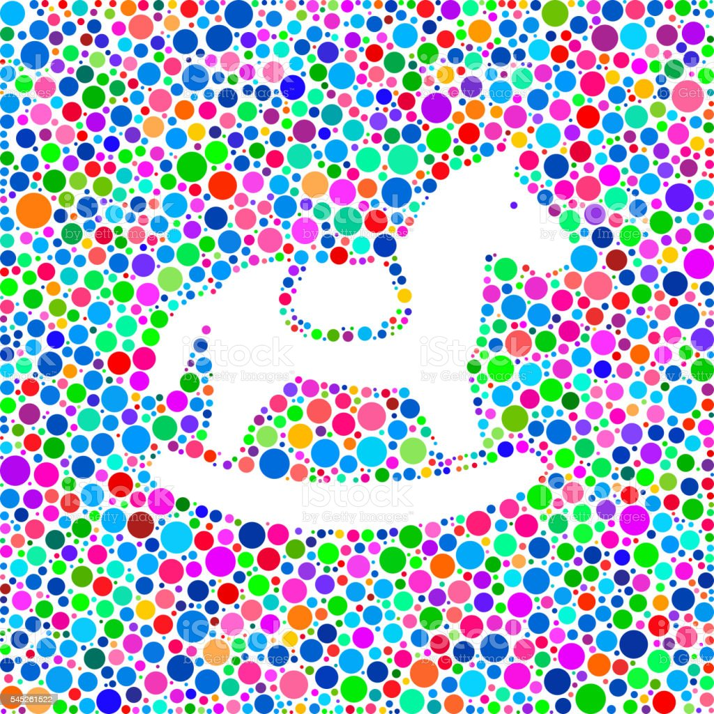Horse Rocker Icon on Color Circle Background Pattern vector art illustration