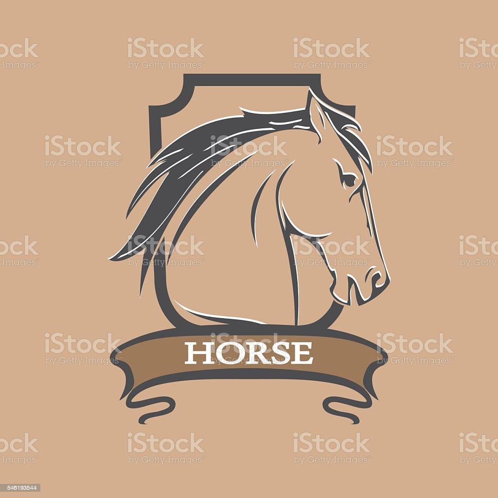 Horse Shield vector art illustration