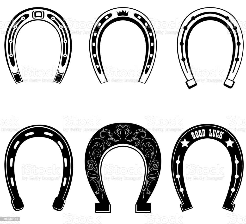 Horse shoe Set. vector art illustration