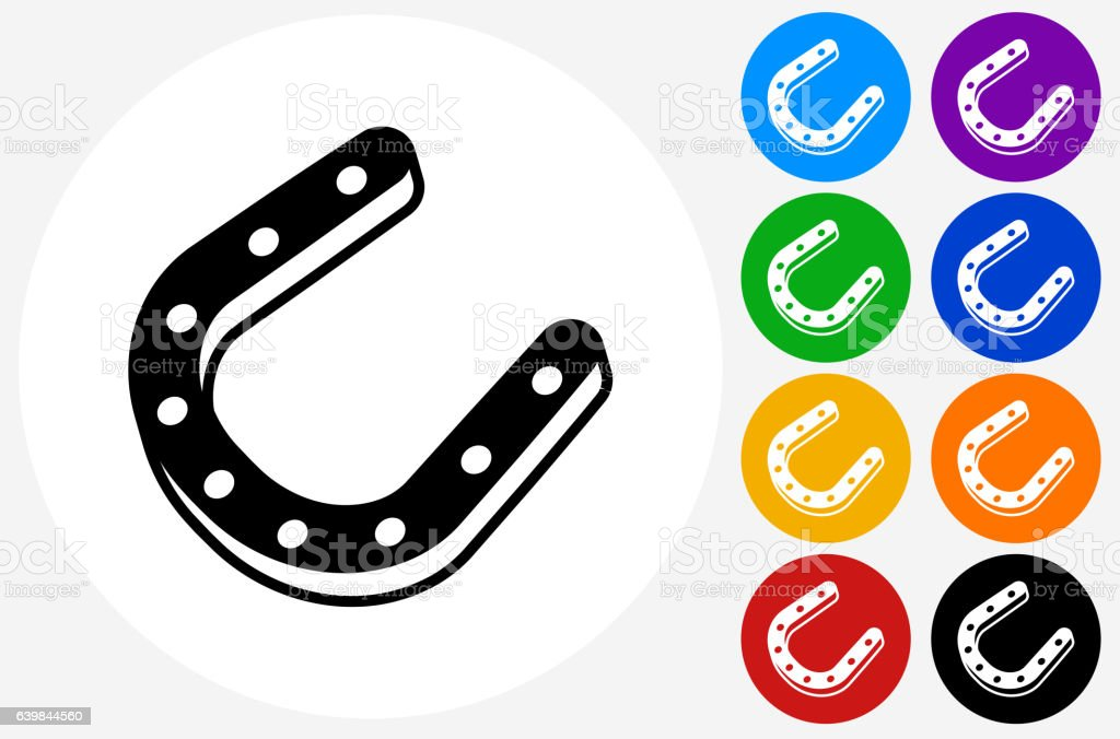 Horse Shoes Icon on Flat Color Circle Buttons vector art illustration