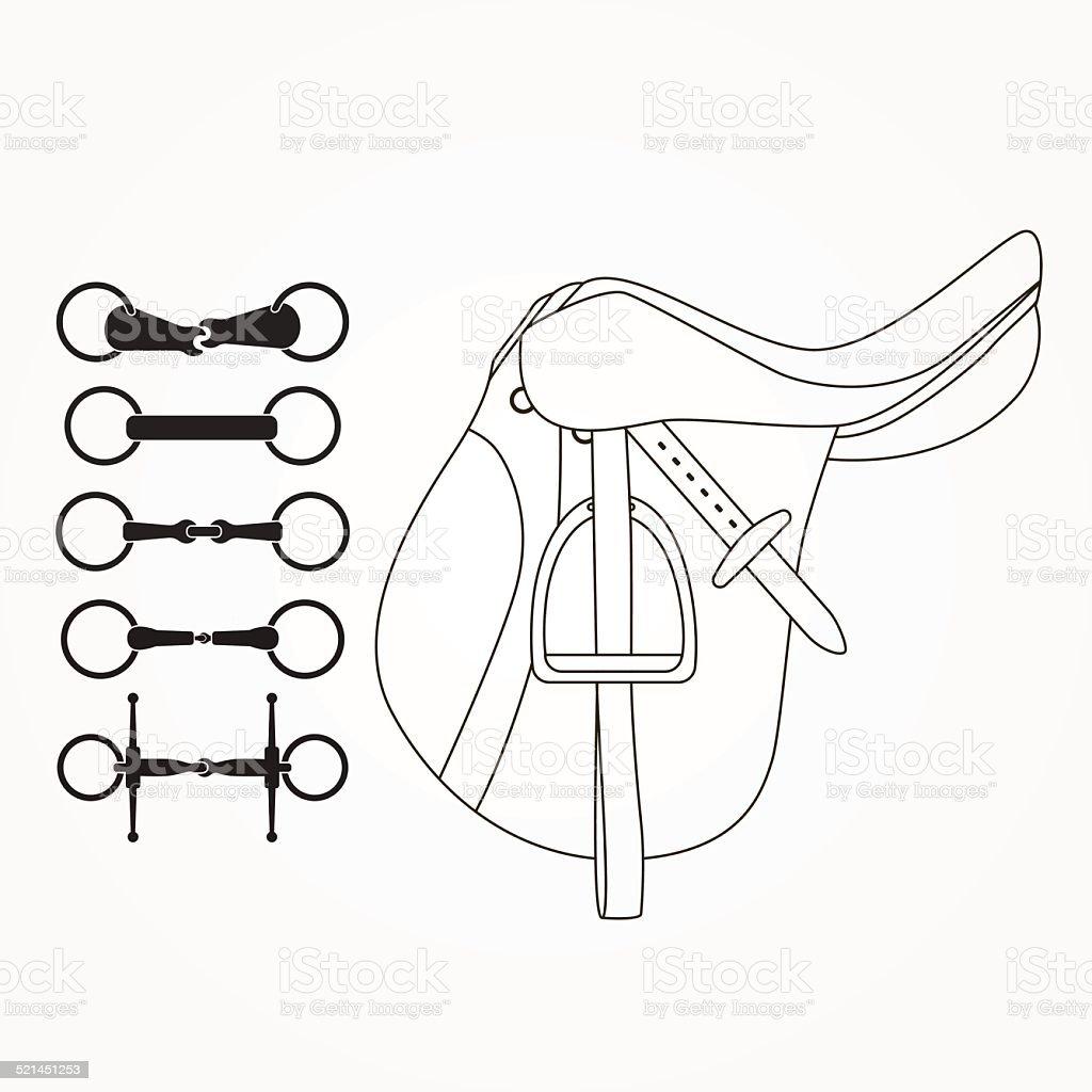 Horse supplies vector art illustration