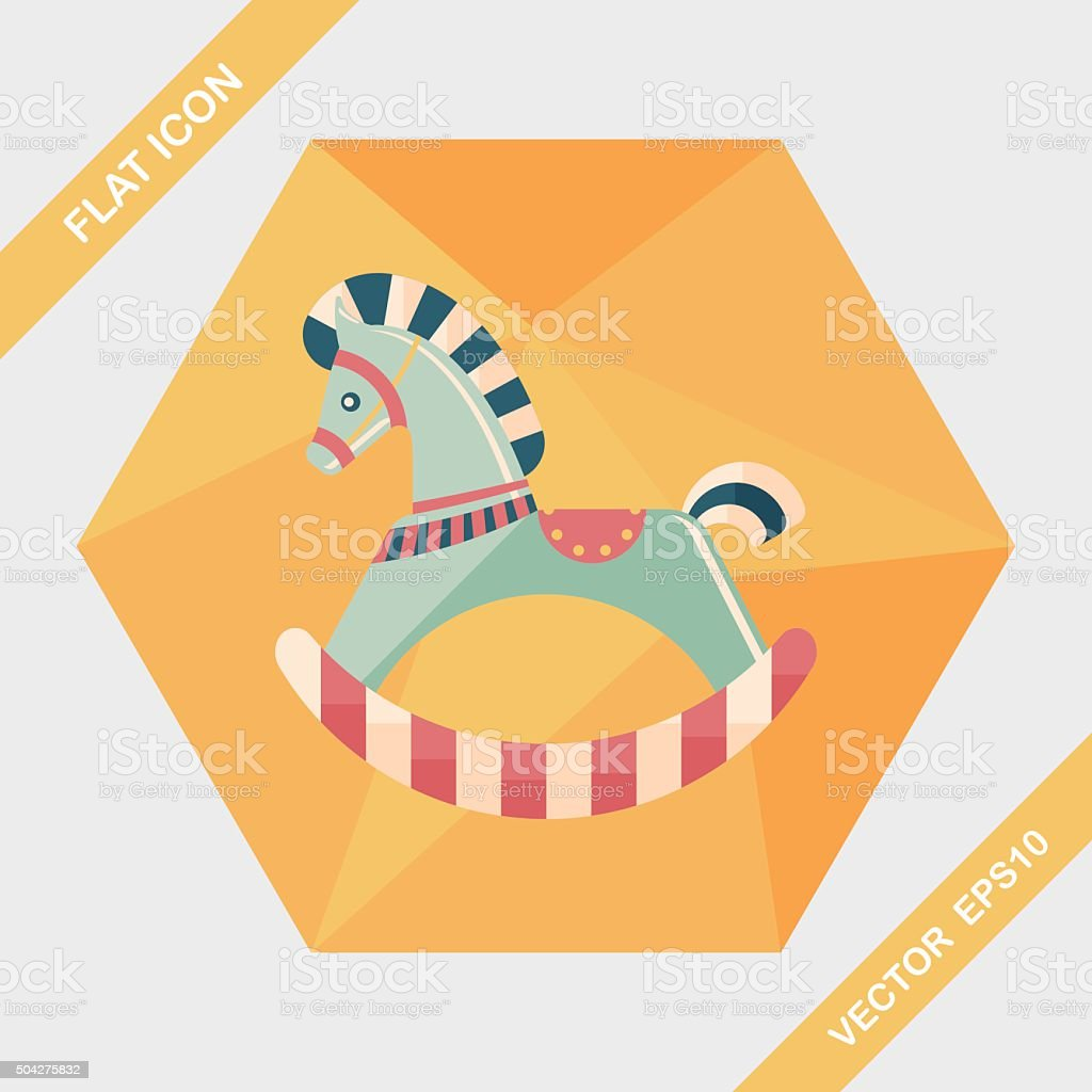 horse toy flat icon with long shadow,eps10 vector art illustration
