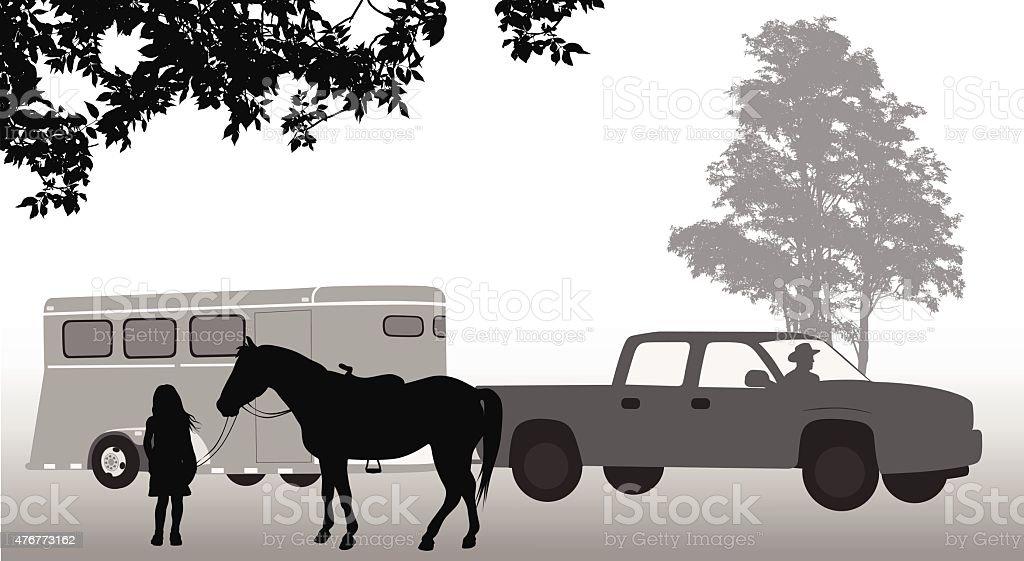 Horse Trailer vector art illustration
