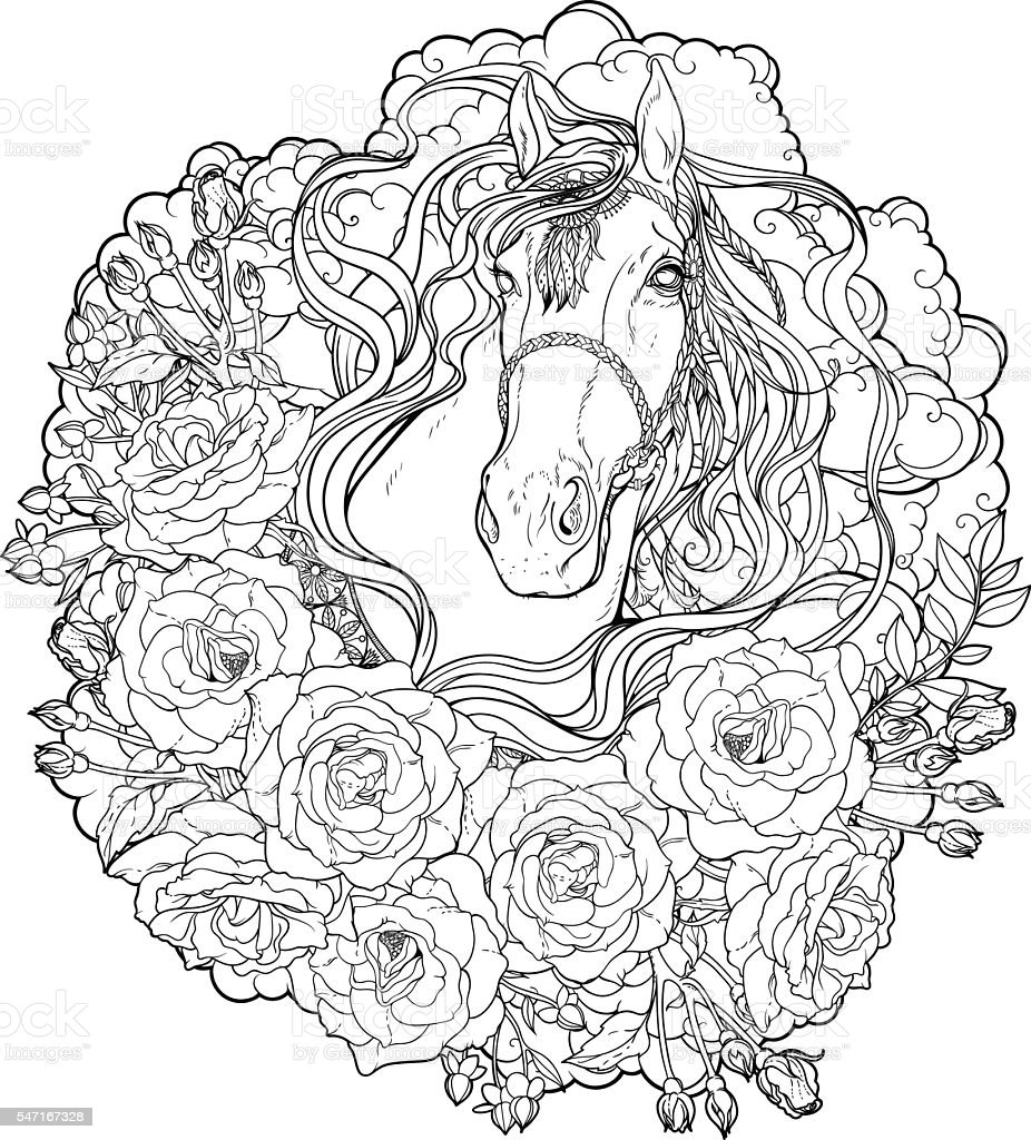 horse with clouds and roses coloring page stock vector art