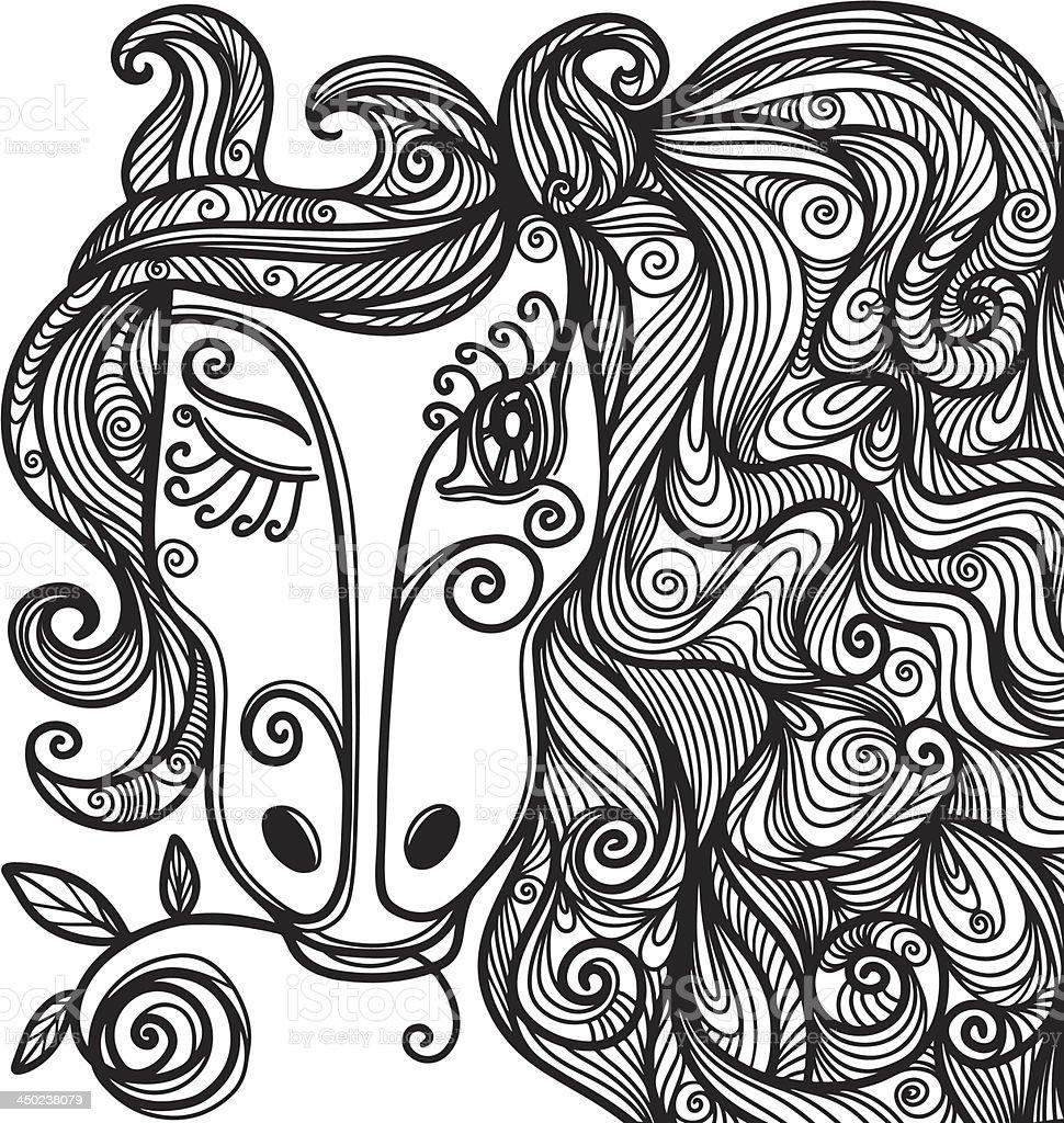 Horse with flower vector art illustration