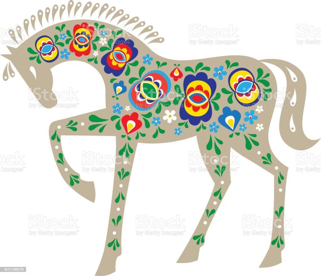 Horse with folk ornaments vector art illustration