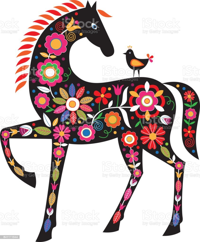Horse with folk ornaments vector art illustration