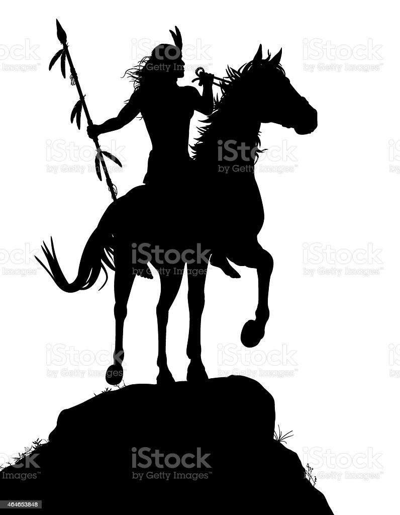 Horseback Indian vector art illustration