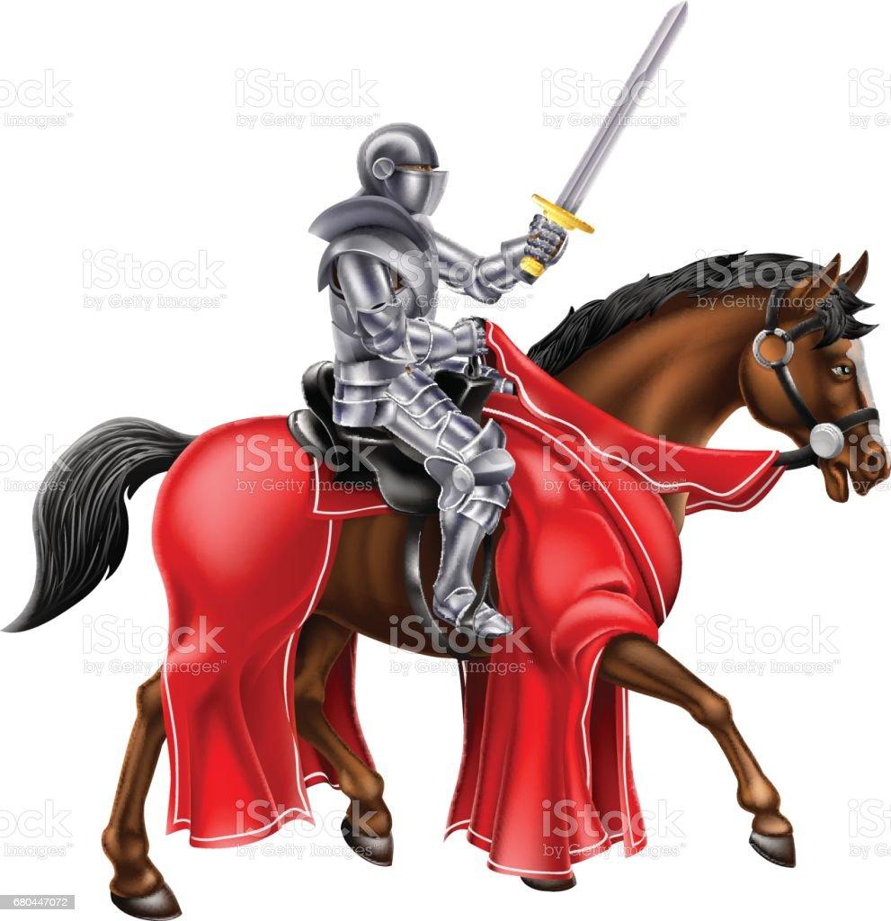 Horseback Knight vector art illustration