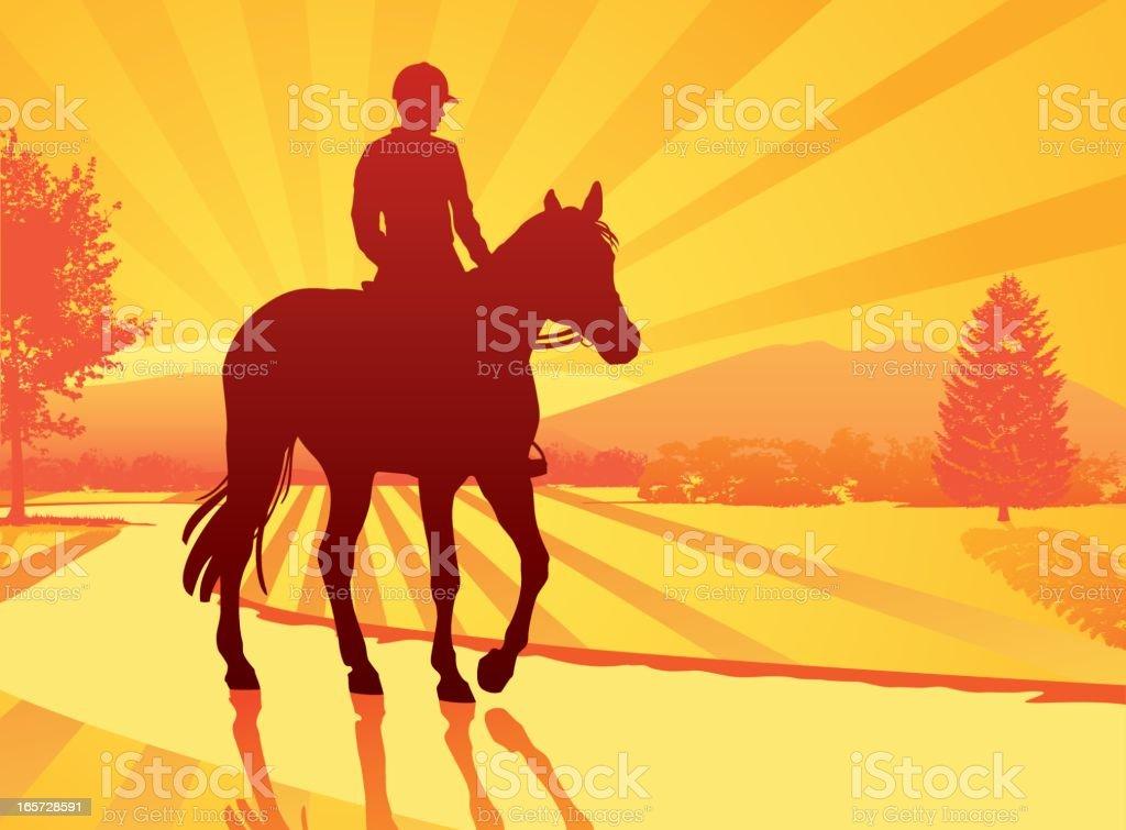 Horseback Rider at sunset vector art illustration