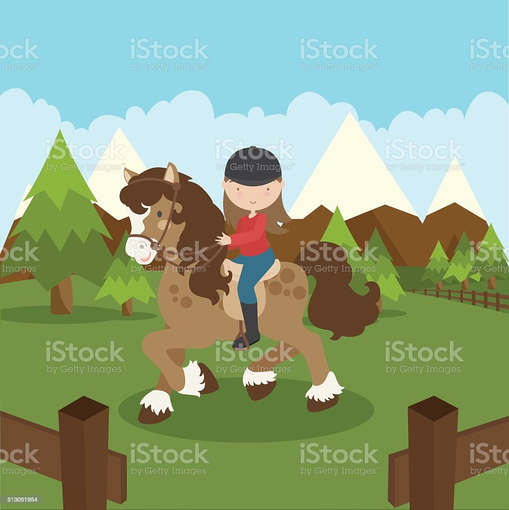 Horseback Riding vector art illustration
