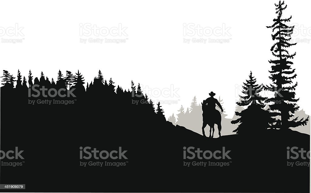 Horseback vector art illustration