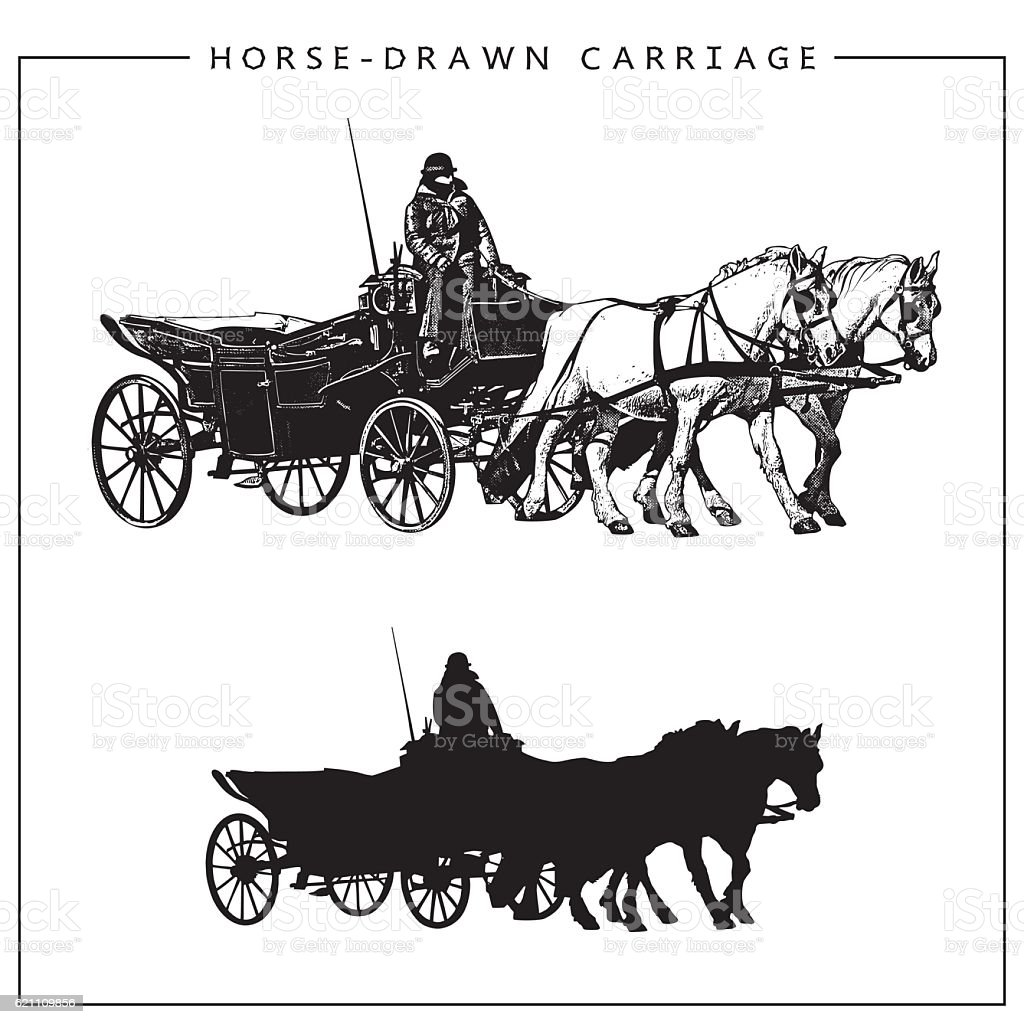 Horse-drawn Carriage. Horse Cart with Coachman and Two Horses. vector art illustration